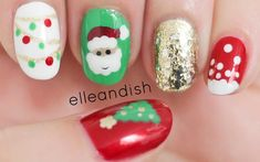 Easy Christmas Nails (Freehand) festive garland, Santa, gold glitter; falling snow and Christmas tree! I love mismatch designs
