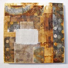 Jennifer Coyne Qudeen: with tea bags, rusted and monoprinted cotton on canvas.