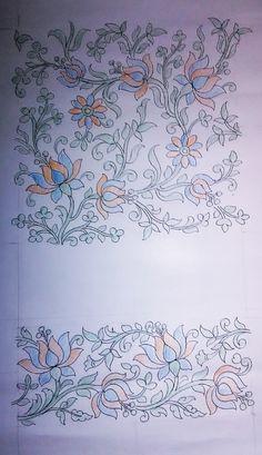 Peacock Embroidery Designs, Border Embroidery Designs, Embroidery Suits Design, Bead Embroidery Patterns, Kalamkari Painting, Madhubani Painting, Kerala Mural Painting, Fabric Paint Designs, Hand Painted Fabric
