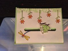 A card for just about any occasion. The frog is on a penny and when you move the card side to side it rolls! Very cute!!! Stampin' Up