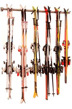 Ski Storage Rack: Durable And Secure Storage Device. Holds Up To Six Pairs Of Winter Skis..