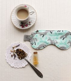 This handmade Winter Fox Sleep Mask in Icy Blue and Grey with Lace makes a lovely homemade Christmas gift for any girl in need of a little extra pampering.