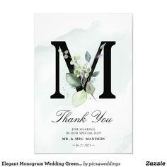Elegant Monogram Wedding Greenery Thank You Card