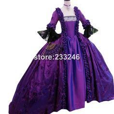 2015 Magnifique Rétro pourpre 18e Siècle Renaissance Victorienne Robes Marie Antoinette Robes Halloween Bal masqué Costume