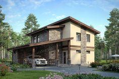Проект жилой дом #48-20A материал - газобетон, стиль современный Cabin, Mansions, House Styles, Projects, Home Decor, House, Log Projects, Blue Prints, Decoration Home