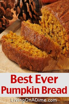 This best ever pumpkin bread recipe is great in the fall! You can make this easy recipe into muffins or cupcakes and serve it with our delicious honey butter! bread recipe Best Ever Pumpkin Bread Recipe - Living on a Dime To Grow Rich Pumpkin Loaf, Pumpkin Dessert, Pumpkin Carving, Moist Pumpkin Bread, Pumpkin Bread Recipes, Pumpkin Chocolate Chip Bread, Easy Bread Recipes, Cheese Pumpkin, Chocolate Chip Recipes