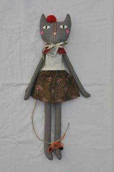 Grey cat with embroidered face handmade rag cat doll - Eszter Dobó.