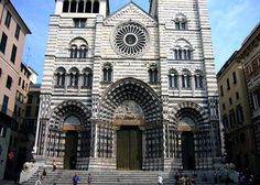The Cathedral of San Lorenzo was constructed in the Romanesque style in the late 12th century, and is home to St John the Baptist's ashes. Note the (replica of the) unexploded bomb from World War II by the confessionals. Also worth a visit is the Museum, with its medieval silver and gold treasures. #Italy #Liguria #Genoa