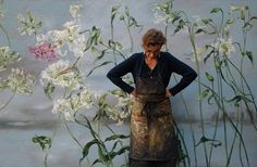 homes of artists and their studios - the home, studio and art of French large scale flower artist Claire Basler