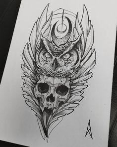 Evil Tattoos, Native Tattoos, Animal Tattoos, Black Tattoos, Owl Tattoo Design, Sketch Tattoo Design, Owl Tattoo Drawings, Tattoo Sketches, Dark Tattoo