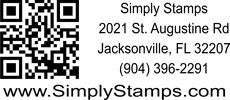Graphic of a QR Code business rubber stamp design.