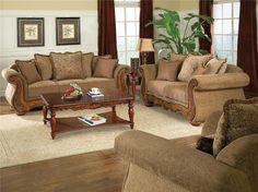 Ashley Furniture Traditional Living Room Sets traditional living room fabric and wood trim curved sofa | brady