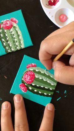Painting little cacti on 4 215 4 canvas with acrylic by Philip Boelter - 4 215 4 Acrylic art Boelter cacti Painting little cacti on 4 215 4 canvas with acrylic by Philip Boelter 4 215 4 Acrylic art Boelter cacti Gouache Painting, Painting & Drawing, Painting Canvas, Small Canvas Paintings, Pour Painting, Painting Videos, Spray Painting, Painting Techniques, Art Mini Toile