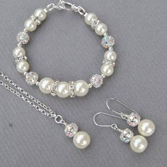Pearl Wedding Jewelry Bridal Set, Bridesmaid Jewellery Set, Bridal Party Gifts