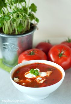 Krem ze świeżych pomidorów z bazylią i kluseczkami