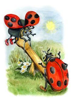 Ladybugs ♥ cute illustration of ladybugs on see-saw Decoupage, Ladybug Art, Creation Photo, 5d Diamond Painting, Cross Paintings, Cute Images, Cute Illustration, Stone Painting, Rock Art