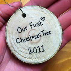 DIY Rustic Christmas Tree Ornament. Love the idea of saving pieces of your Christmas trees all throughout your marriage.