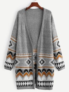 To find out about the Geo Front Open Front Cardigan at SHEIN, part of our latest Sweaters ready to shop online today! Cardigans For Women, Tribal Print Cardigan, Sweater Jacket, Cardigan Sweaters, Long Cardigan, Vest, Cardigan Outfits, Grey Fashion, Outfit