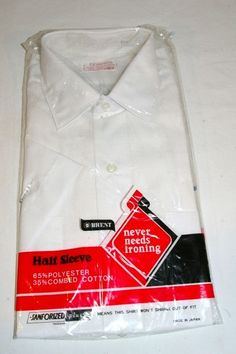 Vintage Mens Brent Montgomery Ward White Sanforized Dress Shirt 15 1/2 1960s NEW!