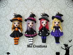 Streghette bamboline in fimo,  handmade witch doll polymer clay