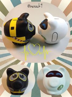 Walle & Eva #Porky Alcancía de cerámica By: @nerack9 Hand painted Ceramic #PorkyBank Personalized #MiniPorky Wall E, Walle Y Eva, Wooden Piggy Bank, Pig Bank, Penny Bank, Cute Little Things, Facebook, Crafts, Diy