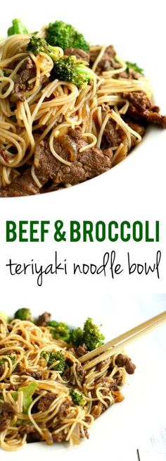 Yummy noodle bowl with teriyaki beef and broccoli - you need to make this for dinner tonight! Tastes like P.F. Chang's but is healthier and more delicious! #glutenfree