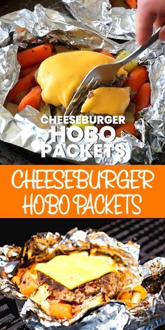 These quick and easy Cheeseburger Hobo Packets are made on the grill, over the fire or in the oven. A foil packet with a cheeseburger, potatoes and carrots makes an entire meal. Make these for a quick and easy dinner tonight! Foil Packet Dinners, Foil Pack Meals, Grilling Foil Packets, Veggie Foil Packets For The Oven, Foil Packet Recipes, Tin Foil Dinners, Camping Menu, Camping Hacks, Camping Supplies