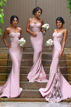 Beautiful Pink Spaghetti Straps Lace Beading Mermaid Bridesmaid Dresses Z1416