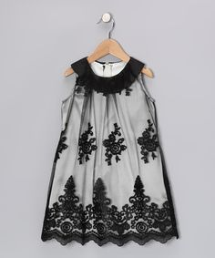 Sweet Kids Black Lace Yoke Dress - Girls #zulily