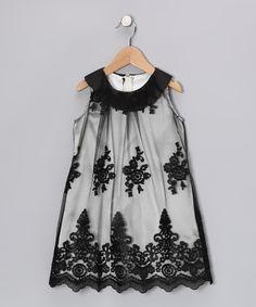 Sweet Kids Black Lace Yoke Dress - Girls #zulily