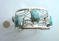 Stunning Larimar Cuff Bracelet 7-8 1/2 Awesome von SIMICOLLECTABLES
