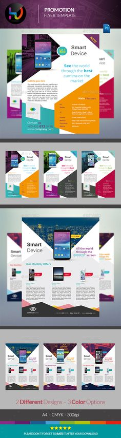 Mobile App Flyer Promotional flyers, Flyer template and Template