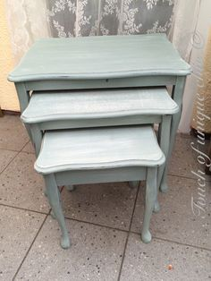 Kitchen tables our pick of the best living room furniture nest of tables painted in annie sloan duck egg blue and old white distressed and waxed watchthetrailerfo