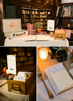 Library book seating cards! Each guests info was typed on a card using an old typewriter, then special dates to the couple were stamped on the cards to make them look 'over-due'. They were displayed in an old library catalogue drawer. SO cute!