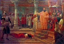 Virata Parva - Maid Shairandhri (Draupadi) is humiliated in Virata's court by Kichaka (left) in the last month of the 13th year. Bhima kills Kichaka.