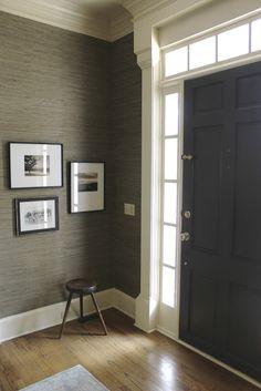 Textured wallpaper accent wall entryway foyers ideas for 2019 Trendy Wallpaper, Textured Wallpaper, Dark Front Door, Front Doors, Hallway Wallpaper, Office Wallpaper, Bedroom Wallpaper, Painting Wallpaper, Grey Walls