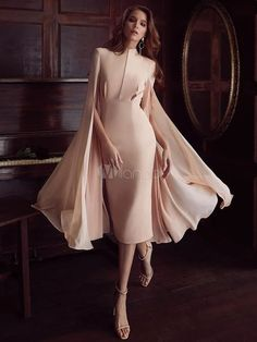 Pink Party Dress Cape Shoulder Cocktail Dress Long Sleeve Split Pencil Dress - Source by bestrecipesontheworld dresses Pink Party Dresses, Girls Formal Dresses, Elegant Dresses, Sexy Dresses, Pink Dress, Beautiful Dresses, Fashion Dresses, Dresses With Sleeves, Summer Dresses