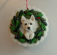 White dog Christmas ornie by Raquel at the WRC hand by theWRC, $28.00
