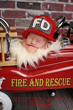 Newborn Baby Crochet Firefighter Helmet Hat Photography Prop