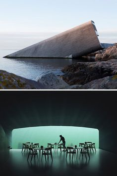 Under, located in Norway, is Europe's first underwater restaurant. Places Around The World, The Places Youll Go, Places To Visit, Contemporary Architecture, Architecture Design, Underwater Room, Underwater Restaurant, Hawaii Travel, Thailand Travel