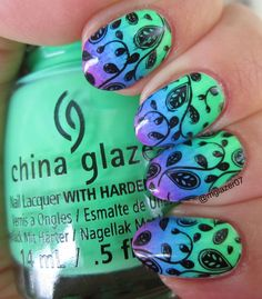 China Glaze 'Treble Maker,' 'DJ Blue My Mind,' and Violet Vibes with Uber Chic 1-03 stamping.