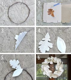 DIY Christmas wrapping paper PAPER LEAF WREATH (or old christmas cards)