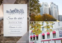 Tom and Kaitie's Old South Meeting House and State Room Wedding - The Ewings Photography Studio [Boston skyline save the dates by Cricket Printing]