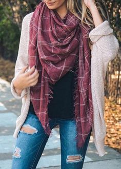 """Lightweight off washed red plaid blanket scarf with fringe edge. Free shipping on every order! 59""""inches x 59"""" inches 100% Polyester"""