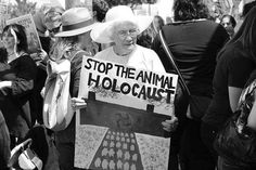 Animal Quotes, Animal Rights & Religions's photo:  This is Mrs. Coby, whose family hid Jews in Amsterdam during holocaust. She is 88 years old, vegetarian since birth and vegan for 35 years. Photo was taken on the 4th May 2013 demonstration in front of the Farmer John slaughterhouse in LA (the largest slaughterhouse west coast of the United States)