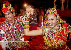 Thandia playing!  In Navaratri festival in Mumbai  Thandia is a pair of dance.