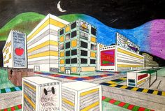 Two Point Perspective City Designs   Lessons from the K-12 Art Room