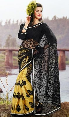 Marvelous Black/Gold Color Party Wear Sari Price: Usa Dollar $89, British UK Pound £53, Euro66, Canada CA$97 , Indian Rs4806.