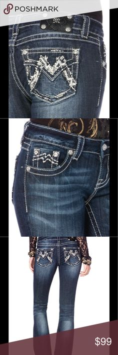 """SHIMMERING M BOOT CUT JEANS💠🆕ᕼEY ᔕE᙭Y💠 Medium-dark wash boot cut jean with fading and whiskering. Back flap pockets feature an embellished M detailed with large crystal rivets and silver logo hardware. 98% Cotton; 2% Elastane Machine Wash Separately In Cold Water """"Inseam: 34"""""""""""" Miss Me Jeans Boot Cut"""