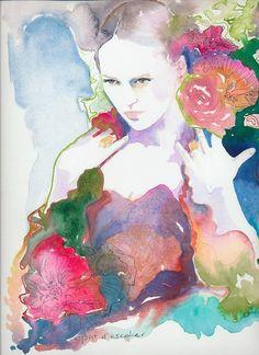Print of Watercolor Painting Fashion by silverridgestudio